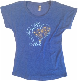 He Loves Me Heart and Flowers Dolman T-Shirt