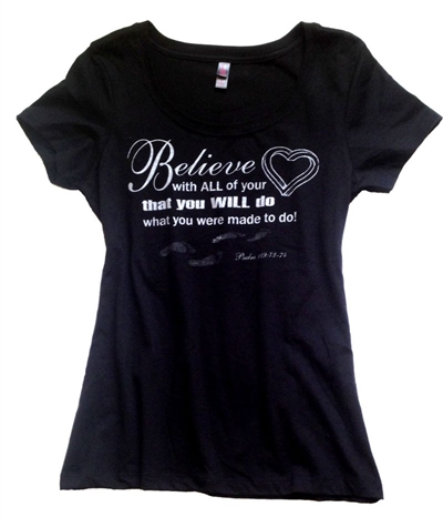 Believe With All Your Heart Scoop Neck Tee Black
