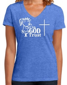 In God I Trust Like A Child Christian V-Neck Tee Shirt