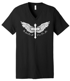 He Died I Live Wings and Cross V-Neck T-Shirt