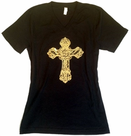 Wings in Gold Foil Cross V-Neck T-Shirt