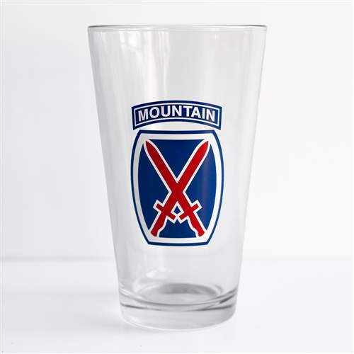 10th Mtn Div Pint Beer Glass with 10th Mountain Logo