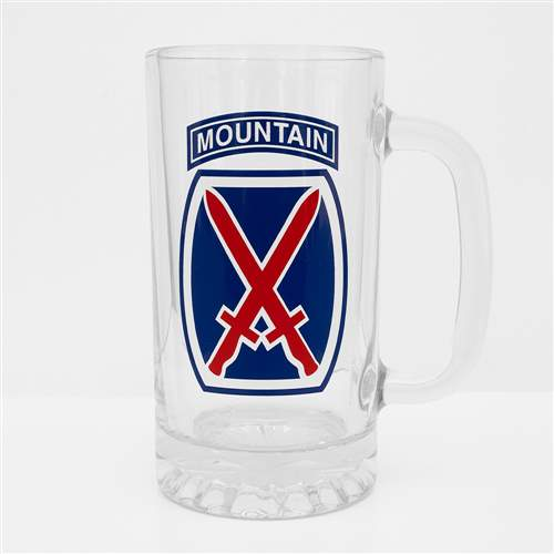 10th Mtn Div Pint Beer Mug with 10th Mountain Logo