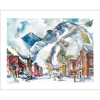 Aspen, CO Watercolor 1970 View of the Town & Mountain, Poster by the late Cecile Johnson