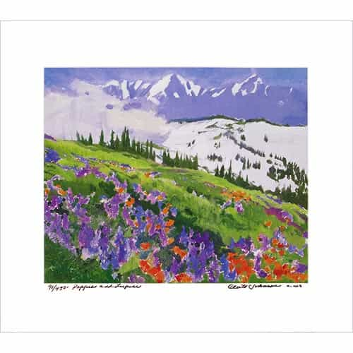 Poppies and Lupine Poster Signed By Cecile Johnson