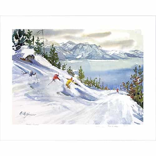 Powder Flying at Heavenly Valley Above Lake Tahoe Ski Poster By Cecile Johnson