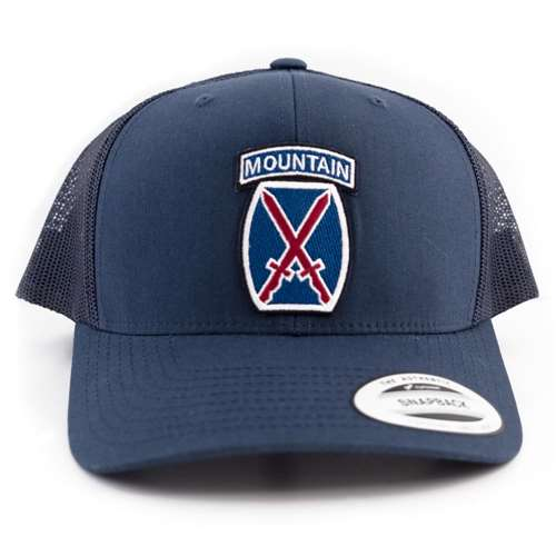 10th Mountain Division Embroidered Logo Patch on a Snapback Navy Ball Cap
