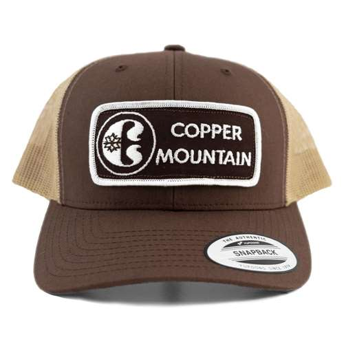 Brown Snapback Ball Cap with 1970s Copper Mountain, CO Ski Patch
