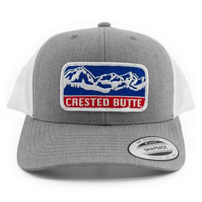 Crested Butte, CO Grey & White Snapback Ball Cap with Patch