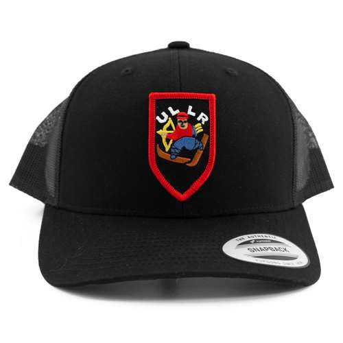 Black Snapback Ball Cap with retro Ullr Patch