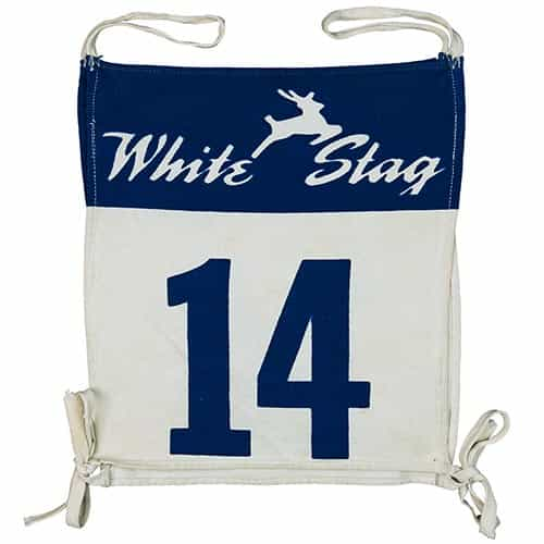 1950's White Stag Vintage Ski Race Bib #14 supplied by the White Stag Clothing Company, Portland, OR