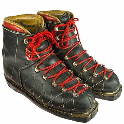 1960s Vintage Leather Double Lace Ski Boots