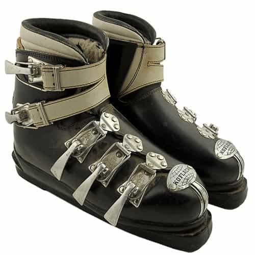 1960s Koflach Plastic Covered Leather Buckle Ski Boots