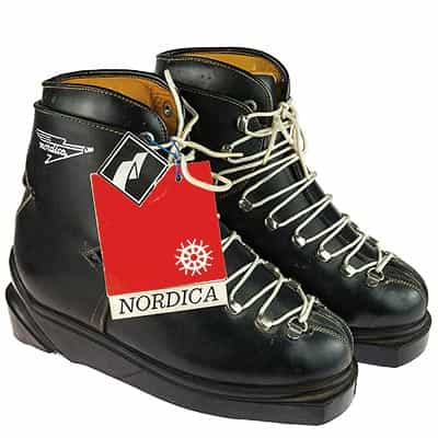 1960s Nordica Norva Leather Lace Vintage Ski Boots Mint