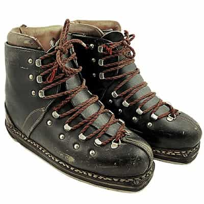 1960s Slalom Leather Double Lace Vintage Ski Boots
