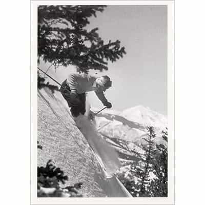 Dick Durrance Skiing Aspen, Mt. Sopris in Background Greeting Card