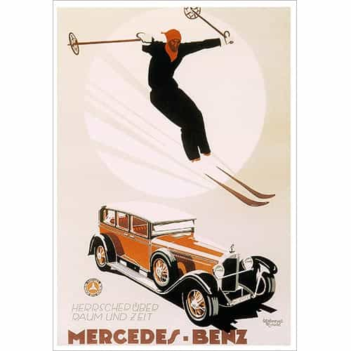 Mercedes Skiing Greeting Card