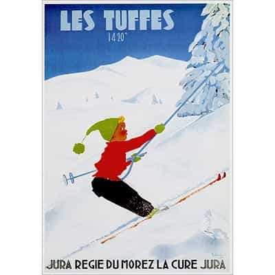 Les Tuffes Skiing Greeting Card