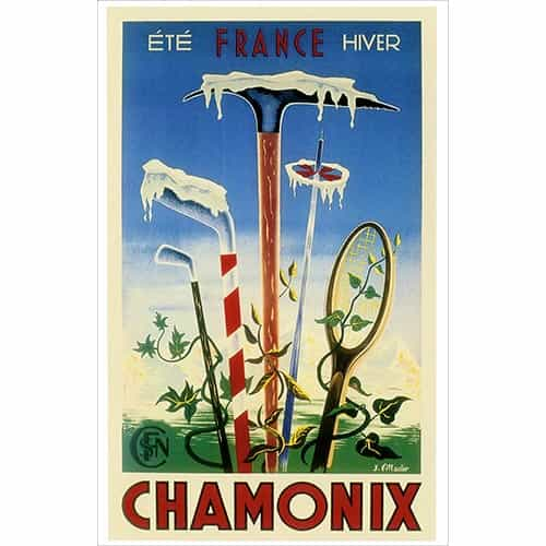 Chamonix Ski, Tennis and Golf Postcard