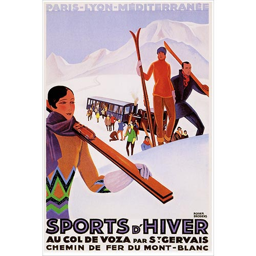 Sports d Hiver Train Postcard