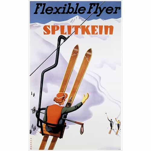 Splitkein Flexible Flyer Ski Postcard