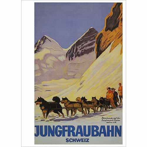 Jungfraubahn Swiss Dog Sledding Postcard