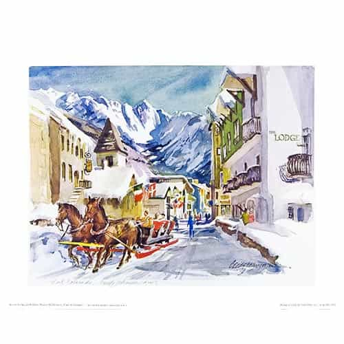 Vails Winter Sleigh Ride Scene Poster Signed By Cecile Johnson