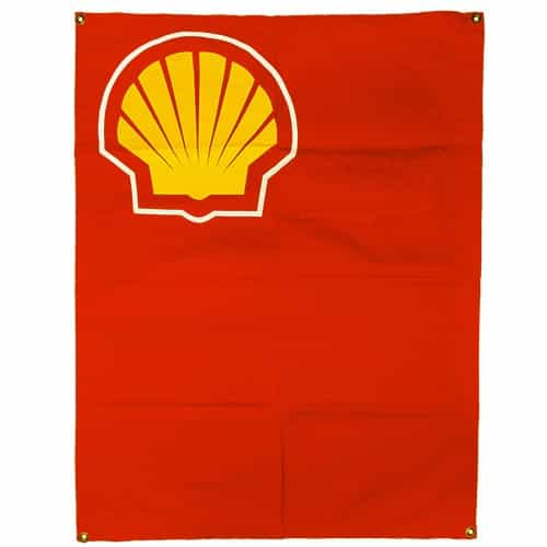 1970's Shell Vintage Red Ski Race Flag