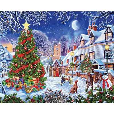 Jigsaw Puzzle Village Christmas Tree, 1000 Pieces
