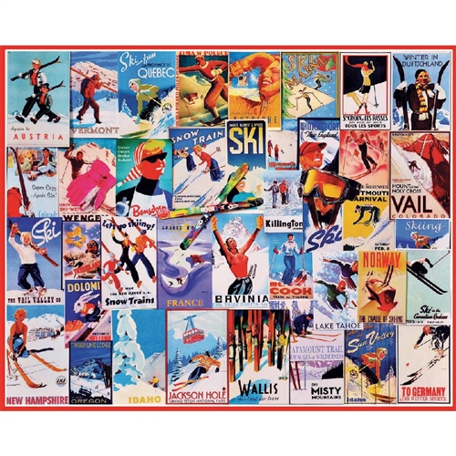 Jigsaw Puzzle of Vintage Ski Posters, 1000 Pieces