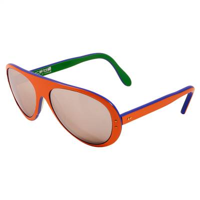 1970's Vintage Cébé Mirrored Orange, Blue and Green Sunglasses