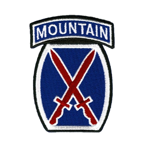 10th Mountain Division Logo Patch Size: 1 3/4 x 2 1/2 inches