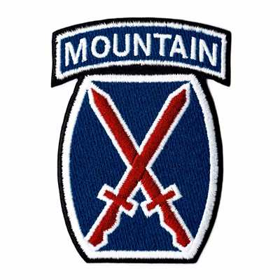10th Mountain Division Logo Patch Size: 2 1/4 x 3 1/4 inches