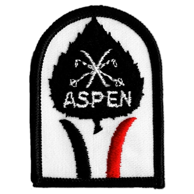 1970s Aspen Leaf with Cross Skis Vintage Black and Red Ski Patch, 2 x 2 3/4 inches