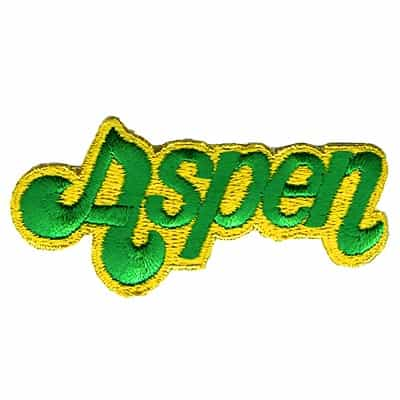 Aspen Vintage Ski Patch Green on Gold