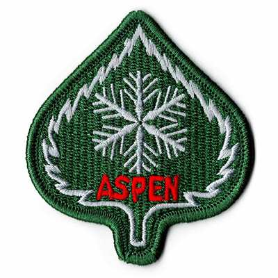 Aspen Leaf Embroidered Ski Patch, 2 1/2 x 2 3/4 inches