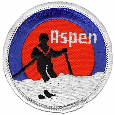 Aspen Powder Ski Black & Orange 1970's Ski Patch
