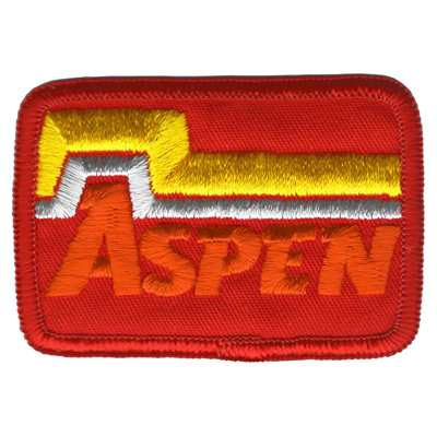 Aspen CO Ski Area 1970s Embroidered Ski Patch - Red & White, 3 x 2 inches