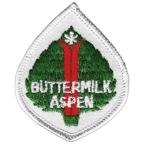 Buttermilk Aspen Leaf CO 1970s Embroidered Ski Patch, 2 1/2 x 3 inches