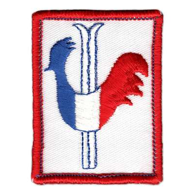 French Gallic Rooster Vintage 1970s Ski Patch, 2 x 2 3/4 inches