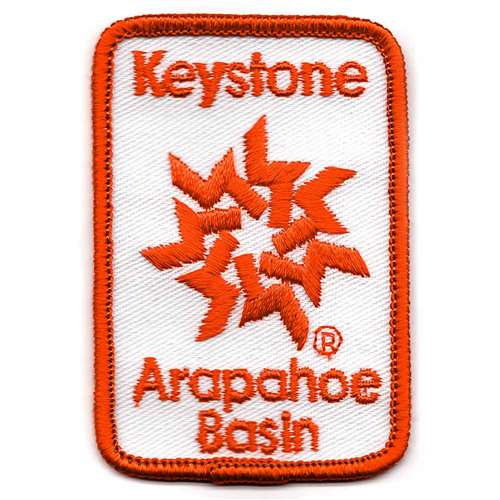 Keystone & A-Basin, Colorado Vintage Embroidered Ski Patch, Size 2 x 3 inches.