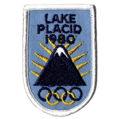 Lake Placid 1980 Vintage Winter Olympics Blue and White Patch, 2 x 3 inches
