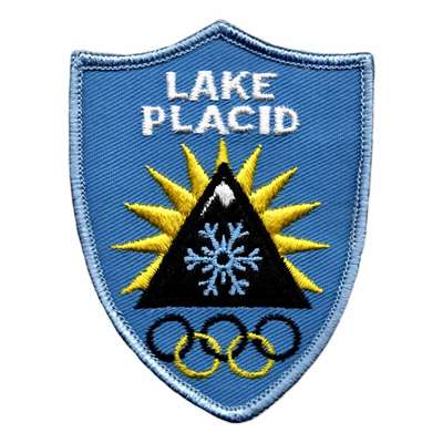 Lake Placid Vintage 1980 Winter Olympics Blue and Yellow Shield Patch, 2 3/4 x 3 1/2 inches