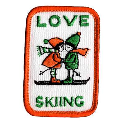 Love Skiing Vintage 1970s Orange and Green Patch, 2 x 2 3/4 inches