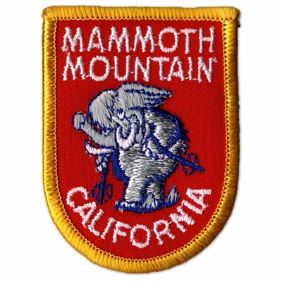 Mammoth Mountain 1970s Vintage Embroidered Red and Yellow Ski Patch, 2 x 2 3/4 inches