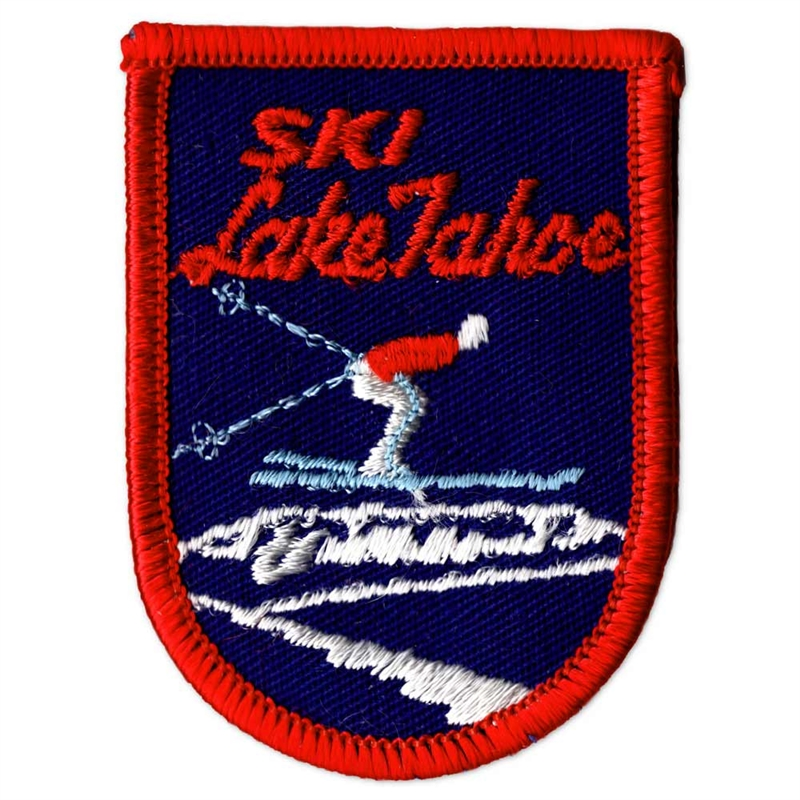Ski Lake Tahoe Vintage 1970s Collector's Ski Patch Blue and Red Ski Patch, 2 x 2 3/4 inches