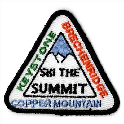 Ski The Summit Vintage Triangular Embroidered Ski Patch, Size 3 1/2 x 3 1/2 inches.