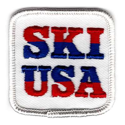 Vintage Embroidered Ski USA Patch, Size 2 x 2 inches