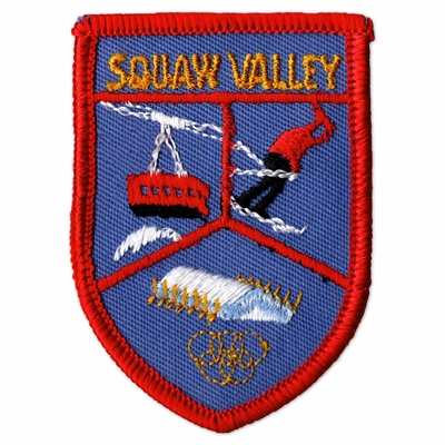 Squaw Valley, California Vintage 1970s Blue and Red Ski Patch, 2 x 2 3/4 inches