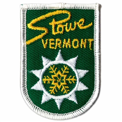 Stowe, Vermont Vintage 1970s Green and Yellow Ski Resort Patch, 2 x 2 3/4 inches